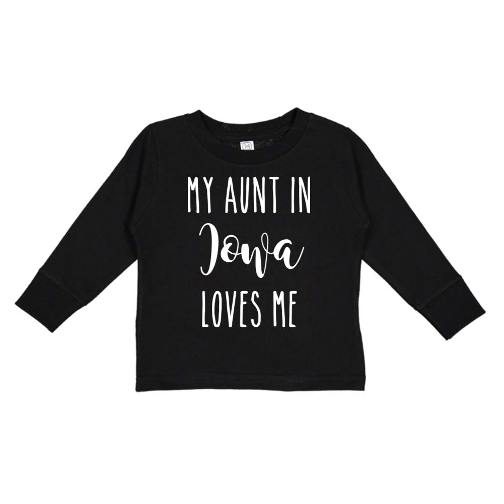 Toddler//Kids Long Sleeve T-Shirt My Aunt in Iowa Loves Me