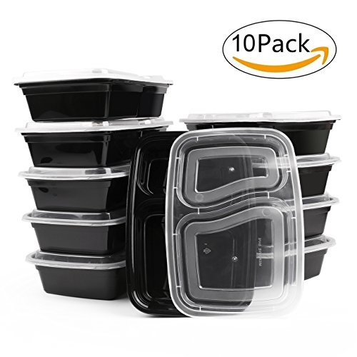 Lunch Containers, Meal Prep Containers, BPA Free Food Containers With Lids, 10 Pack Plastic 2 compartment Container Lunch Box for Office, Work, School and Picnics by Meter.llc