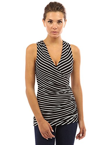 (PattyBoutik Women's Striped V Neck Faux Wrap Top (Black with White Stripes XL))