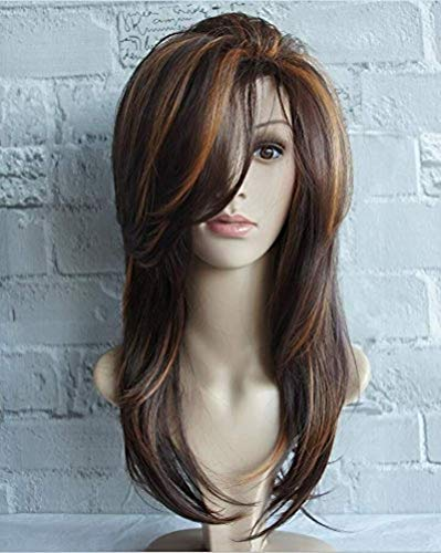 Diy-Wig Women Long Layered Natural Straight Synthetic Hair Wig Highlight Multicolor with Free Wig Cap,Brown
