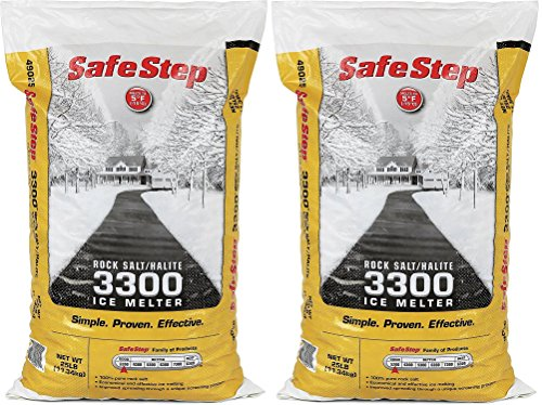 Safe Step Rock Salt/Halite Standard 3300 Ice Melter Non-Corrosive Safe for Concrete Sidewalks, Driveway Pavement- 2 Bags of 25 lb (Rock Salt 2pk) (Steps Patio Concrete)