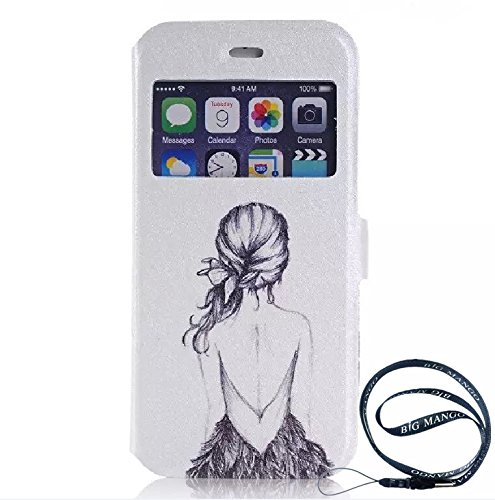 """Fashion Touch Front Smart Window View Case Flip Folio Textured Leather Cover for Apple iphone 6plus (5.5"""") with Build in Stand and Display Window + """"Big Mango"""" Logo Strap"""