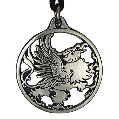 Pewter Gryphon Talisman Griffin Pendant Necklace (Griffin Jewelry)