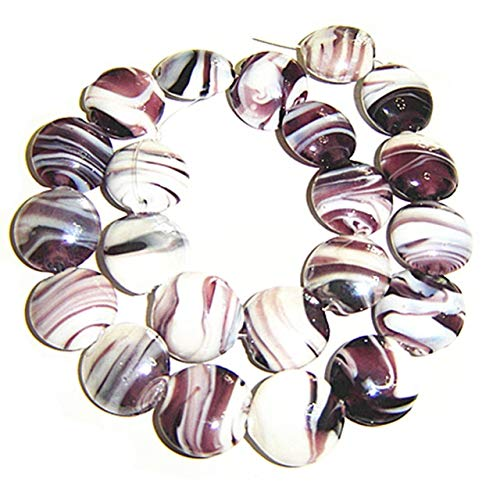 Pukido Puffed Disc Shape Murano Glass Beads,1.5mm Hole for Jewelry Project,22 Pieces per lot, Price - (Color: Brown as Photo)