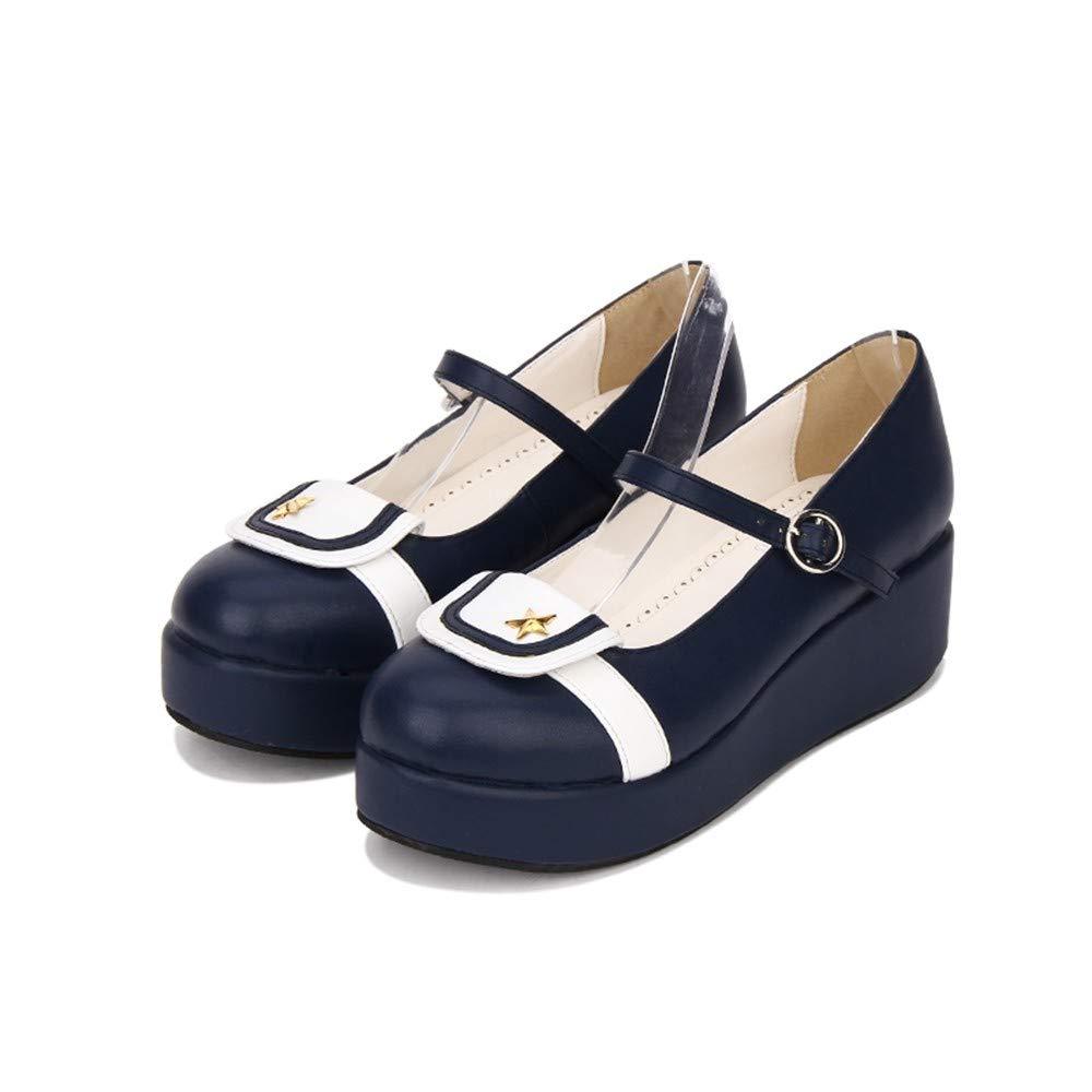 PINGXIANNV Süße High Heel Lolita Schuhe Neue Keilabsatz Schuhe High Heel Prinzessin Schuhe Damen High Heels