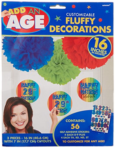 """Amscan A Year To Celebrate Happy Birthday Celebration Customizable Party Decorations with Danglers, 7"""", Black/White"""