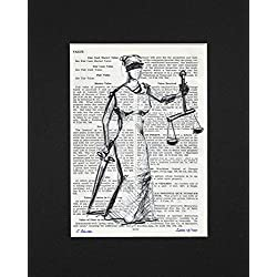 Justitia - Limited Edition Upcycled Vintage Black's Law Dictionary Art Print - 7.25 x 9.75 - Makes a Perfect Gift for Any Lawyer or Law School Student.