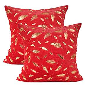 YOUR SMILE Pack of 2 Solid Color Gold Feather Plush Fur Decorative Throw Pillow Case Cushion Cover Pillowcase for Couch Sofa Bed,18 x 18 Inches,Red