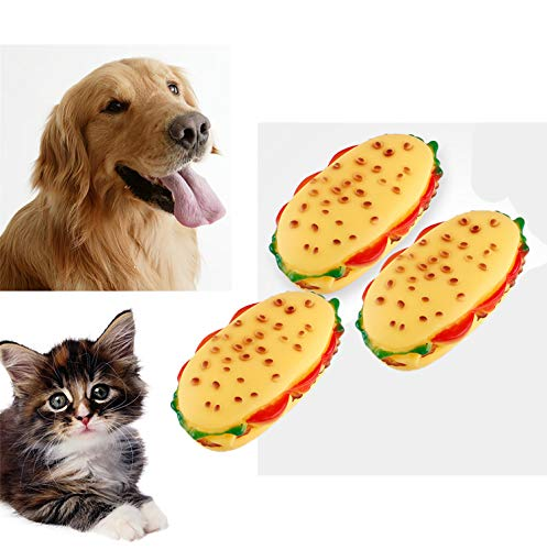 ZoyPet Pet Chew Toy Interactive Dog Food Toy Bite Sandwich 3 Pack Soft Non-Toxic Teeth Cleaning Dog Toys Squeaky for Puppies Small Dogs Cats DT11 Sandwich