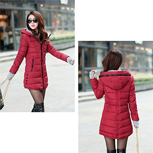 Long 1 Long Jacket Red Coat Women's Coat con Parka cappuccio Feather Felpa imbottita Bozevon Winter T5pxq6wZn
