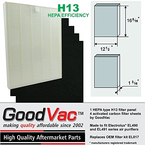 GOODVAC 1 Hepa H13 Filter and 4 Carbon Filters to fit Electrolux EL490 and EL491 air purifiers, Replaces OEM Filter kit EL017. Quality Replacement Filters (1) Review