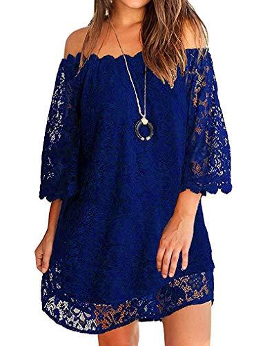 Twinklady Women's Off Shoulder Flowy Vintage Lace Shift Loose Mini Dress Blue XXL - Off Shoulder Mini
