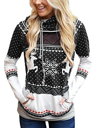 FIYOTE Women Long Sleeve Double Hooded Christmas Sweatshirt Casual Pullover Hoodie Small Size Black
