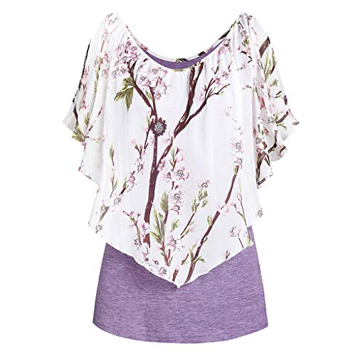 (RUIVE Loose T-Shirt for Women's Blouse Summer Beach Print Vest Tops Pleated Casual Girls Gym Ruffle Short Sleeve Tee Purple)