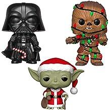 Funko Star Wars: POP! Juego de coleccionistas de vacaciones – Darth Vader W/Chase, Santa Yoda, Chewie W/ Luces
