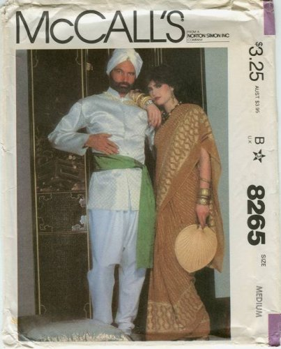 McCall's Pattern 8265: Adult Costumes: Maharajah, Rani, Indian Gentleman, Indian Woman, Sari - Indian Maharaja Costumes