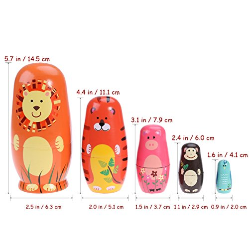 TOYMYTOY Nesting Dolls Five Cute Russian Dolls Toy Gift by TOYMYTOY (Image #3)