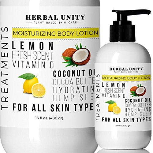 Herbal Unity Moisturizing Body Lotion with Coconut & Hemp Oil for Sensitive and Dry Skin, Lemon Scented, 16 fl. oz