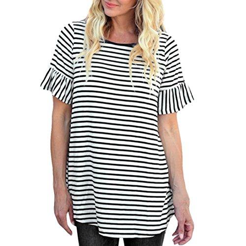 Frauen Gestreift Oberteile, ZIYOU Damen Rundhals T-shirts Tops   Beiläufig  Sommer Kleidung Lange 2836c71975