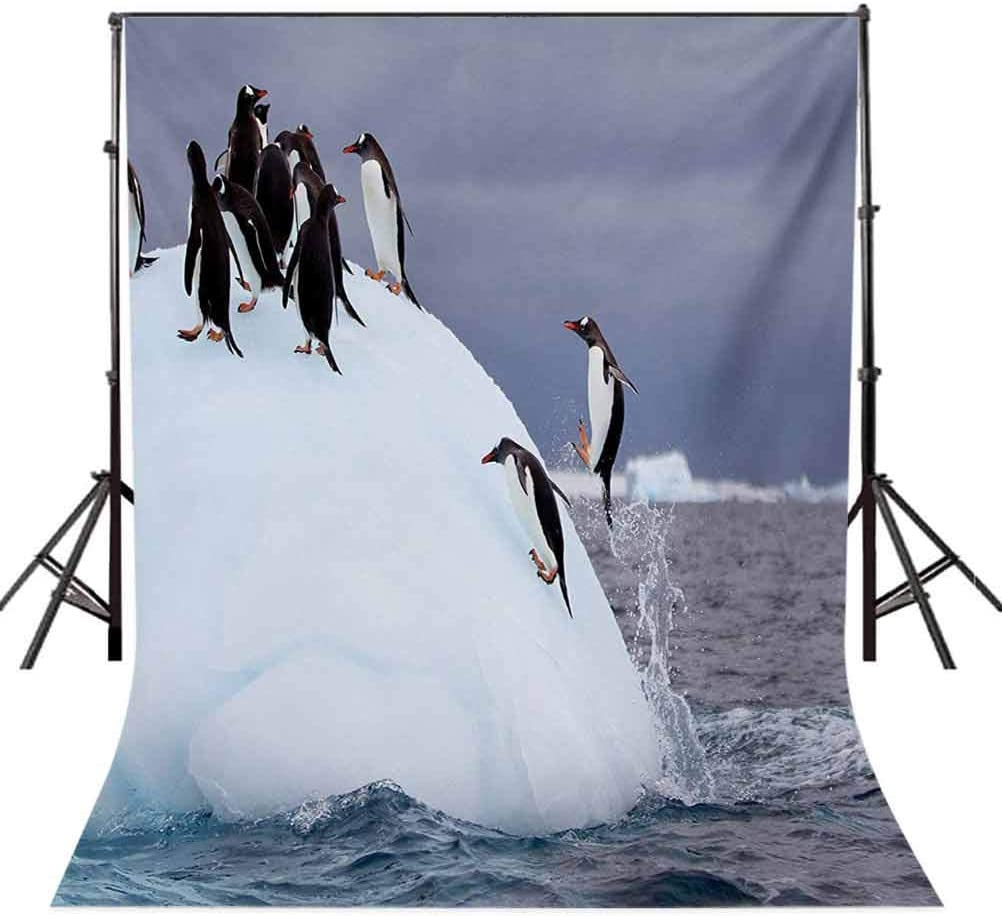Underwater 6.5x10 FT Backdrop Photographers,Gentoo Penguin On Iceberg Freezing Wilderness Antarctic Landscape Print Background for Party Home Decor Outdoorsy Theme Vinyl Shoot Props White Blue Grey