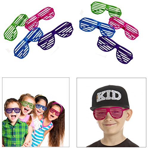 dazzling toys 36 Pack 80's Slotted Toy Sunglasses Party Favors Costume - Pack of 36 - Assorted Colors]()
