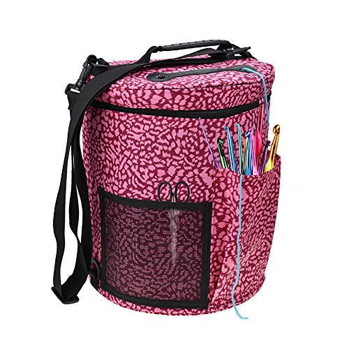 Large Yarn Storage Bag Cylinder Wool Storage Bag Yarn Organizer with Shouler Strap Yarn Containers for Home Office Trave (A)