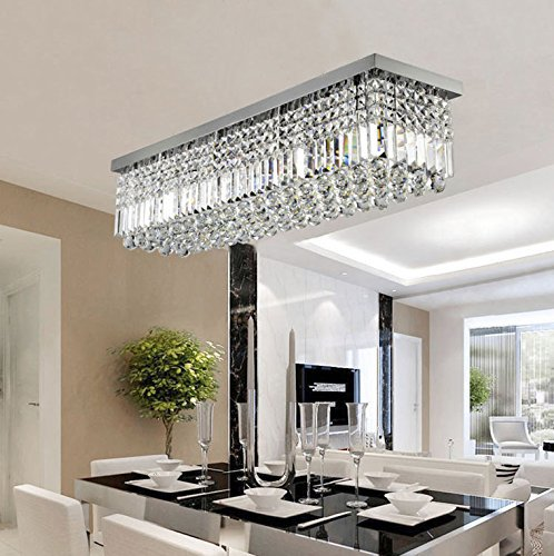 7PM W47″ x D10″ Modern Rain Drop Rectangle Clear K9 Crystal Chandelier Ceiling Lamp Lighting Fixture 10 Lights for Dining Living Bedroom Room Chrome Frame Review