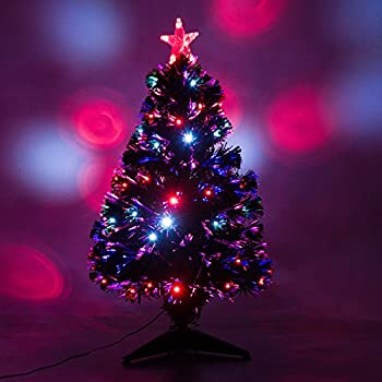 3 artificial holiday fiber optic led light up christmas tree w 8 light - Christmas Tree Led Lights