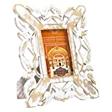 Indian Heritage Wooden Photo Frame 4x6 MDF Cutwork Design in White Distress Finish