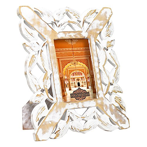 Indian Heritage Wooden Photo Frame 4x6 MDF Cutwork Design in White Distress Finish by Indian Heritage