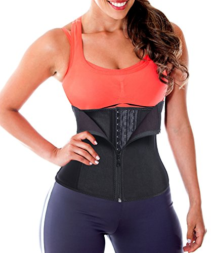Waist Trainer Corset Cincher Women Body Shaper Slimmer Tummy Control Steel Boned Black Latex Waist Trainer US Size 8-10 (Tag size L)
