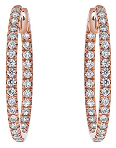 - Olivia Paris 14k Rose Gold 1 Carat cttw Round Brilliant Diamond Hoop Earrings (H-I, SI2-I1) 1