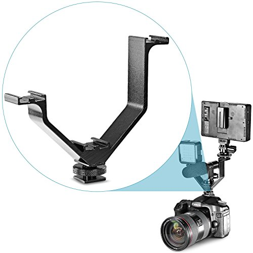 Neewer Aluminium Alloy 5″/12.5cm V-shape Triple 3 Universal Cold Shoe Mount Bracket for Nikon Canon Sony Pentax DSLR Camera or Camcorder Accessory Such as LED Video Light,Microphone,Monitor,Flash