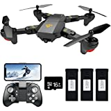 Teeggi FPV RC Drone with Camera Live Video, VISUO XS809HW WiFi Quadcopter with 720P HD 2MP 120° Wide-angle Camera for Kids & Beginners, Altitude Hold, Headless Mode, One Key Return, APP Control Toys