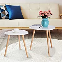 JAXPETY Set of 2 Modern White Gloss Triangle Top Nesting Tables Living Room Side End Tables Set