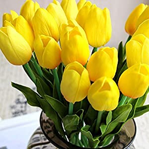 Muyee Artificial Tulips, Single Stem 12 Heads Artificial Real Touch PU Tulips Flowers Arrangement Bouquet Home Room Office Centerpiece Party Wedding Decor 4