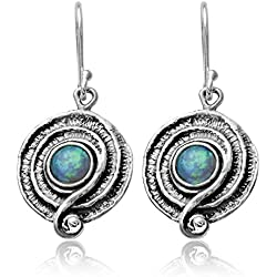Round Swirl Created Blue Fire Opal 925 Sterling Silver Dangle Earrings with Decorative Spiral Design