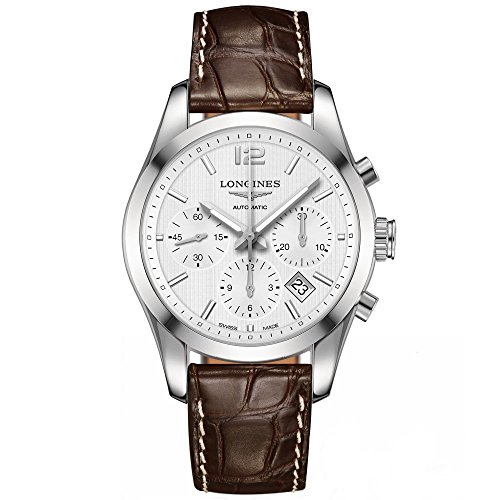 Longines Conquest Classic Chrono White Dial Brown Alligator Mens Watch L2.786.4.76.3