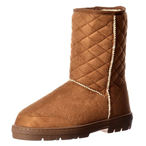 Synthetic Chestnut Midi Lined Fur Brown Slouch Ladies Flat Ella Quilted Ankle Winter Chestnut Boot Black Brown Women's 1qxRInBU