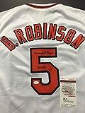 "Autographed/Signed Brooks Robinson Inscribed ""HOF 83"" Baltimore Orioles White Baseball Jersey JSA COA"