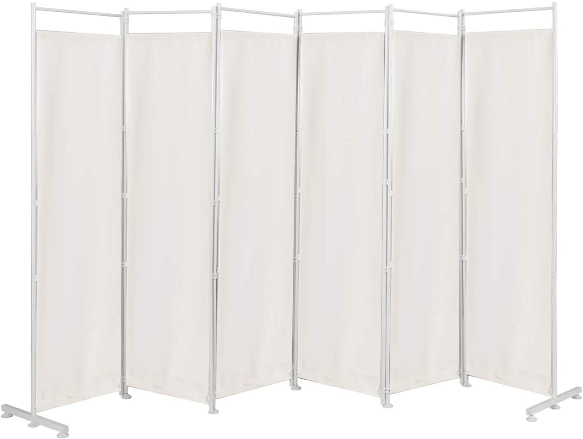 Giantex 6 Panel Room Divider, 6 Ft Folding Screen with Steel Support Base, Privacy Room Partition Room Dividers for Bedroom, Living Room, Office, Restaurant (White)
