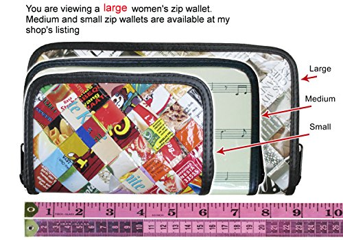 Large zip wallet made from measuring tape – FREE SHIPPING, tape measure recycled repurposed reused teacher artists durable reliable well made constructed sturdy products present presents idea
