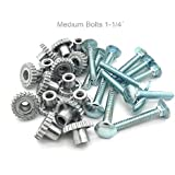 "Pet Carrier Metal Fasteners Nuts Bolts (1-1/4"" Medium Bolts, 16 Pack)"