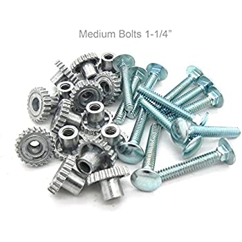 """Pet Carrier Metal Fasteners Nuts Bolts (1-1/4"""" Medium Bolts, 16 Pack)"""