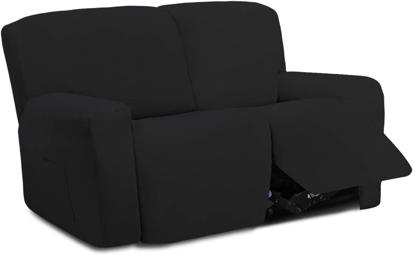 Easy-Going 6 Pieces Microfiber Stretch Sectional Recliner Sofa Slipcover Soft Fitted Fleece 2 Seats Couch Cover Washable Furniture Protector with Elasticity for Kids Pet(Recliner Loveseat,Black)