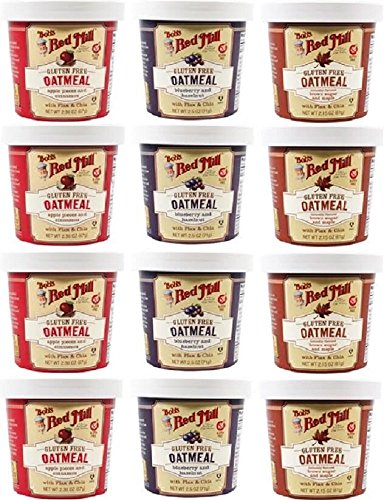 Bob's Red Mill Gluten-Free, Flavored Oatmeal Cup Variety (Apple Cinnamon, Blueberry Hazelnut, Maple Brown Sugar) 12 Pack + 4 Colorful Spoons