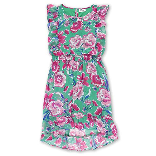 Speechless Girls' Big 7-16 Ruffled Chiffon Blouson Dress, Green Pink Floral, - Blouson Chiffon