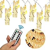 20 LED Photo Clip Remote String Lights, KingYue 8.2 Feet 8 Modes Fairy String Lights, Home/Party/Christmas Decor Lights for Hanging Photos Pictures, Memos and Artwork, Warm White (Battery Powered)