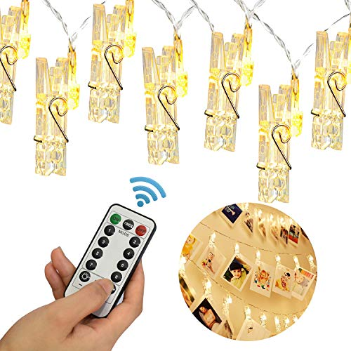 20 LED Photo Clip Remote String Lights, KingYue 8.2 Feet 8 Modes Fairy String Lights, Home/Party/Christmas Decor Lights for Hanging Photos Pictures, Memos and Artwork, Warm White (Battery Powered) by KingYue