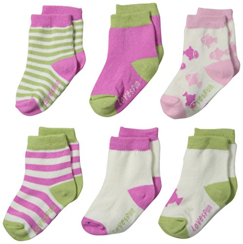 Lovespun Baby-Girls Newborn Fish and Stripe Print 6 Pack Sock Set, Assorted, 0-6 - Piece 3 Stockings Stripe